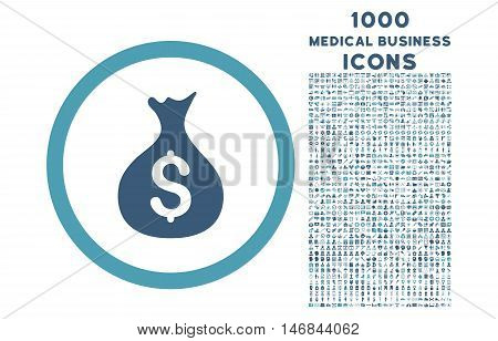 Money Sack rounded vector bicolor icon with 1000 medical business icons. Set style is flat pictograms, cyan and blue colors, white background.