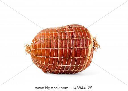 Smoked boneless pork ham hock wrapped in netting isolated on white