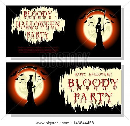 Halloween banner: death bats scary scythe and bloody text in cartoon style on background big moon. Concept design for banner poster invitation or ticket on party. Vector illustration