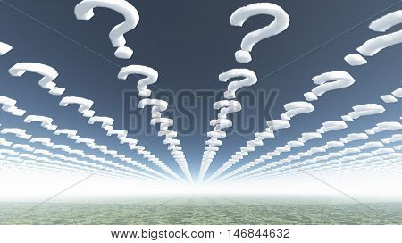 Clouds in shape of question marks  3D Render