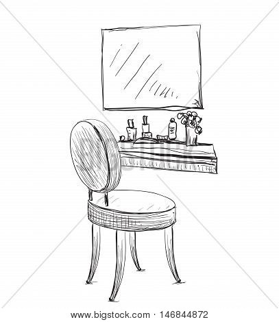Make up. Vanity table and folding chair sketch.