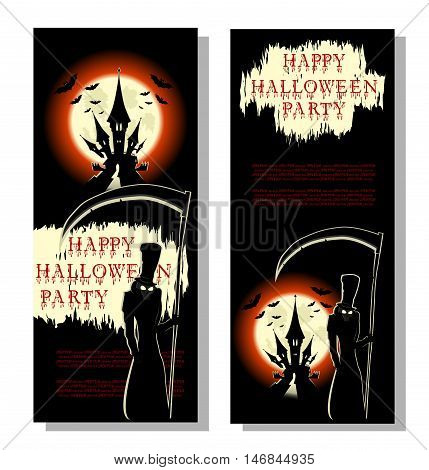 Halloween background: spooky death with large scythe bats scary castle and bloody text in cartoon style on backdrop big moon. Concept banner poster invitation flyer or ticket on party. Vector