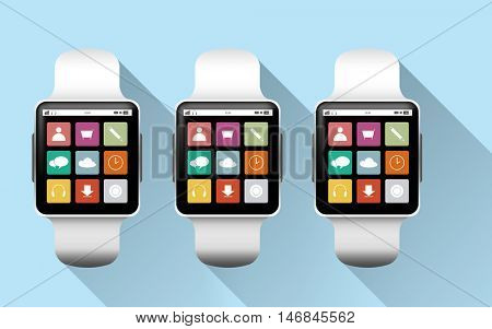 modern technology, application, object and media concept - close up of black smart watches with app icons on screen over blue background
