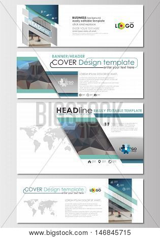 Social media and email headers set, modern banners. Business templates. Cover design template, easy editable, abstract flat layout in popular sizes. Abstract business background, blurred image, urban landscape, modern stylish vector.
