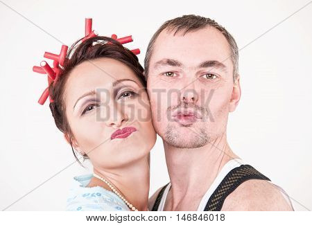 Funny Happy Family Couple Making Silly Faces
