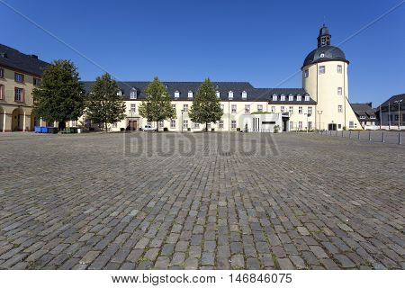 Historic castle with tower in the old city of Siegen North Rhine-Westphalia Germany