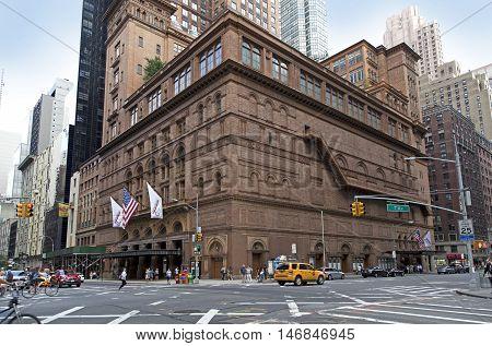 BRONX NEW YORK - AUGUST 21: Carnegie Hall building in Manhattan. Taken August 21 2015 in New York.