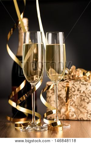 Champagne Glasses and Bottle with Streamers and Gift Box