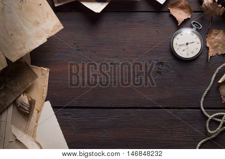 vintage background with old paper and autumn leaves