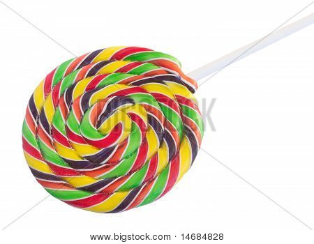 Color spiral candy sweet on stick isolated on white