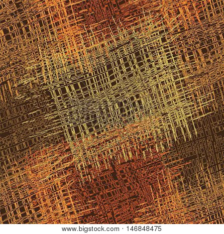 Rough grunge striped and checkered guilt colorful seamless pattern in orangebrowngreen colors on dark backdrop