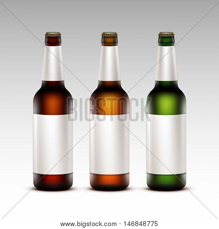 Vector Set of  Closed Blank Glass Transparent Brown Red Green Yellow Orange Bottles of  Dark Light Beer with White labels for Branding Close up Isolated on White Background.