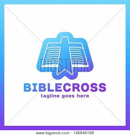Cross Bookmark Logo. Bible Book Logotype. Simple Church Logos