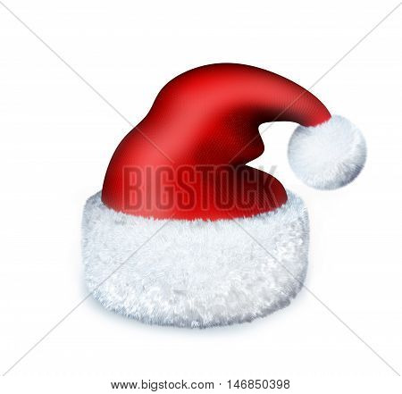 Red Cap santa on white background (done in 3d rendering)