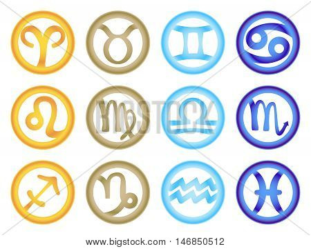 Set of zodiac signs colored respectively with the elements. Vector illustration
