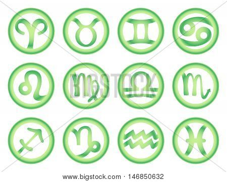 Set of zodiac signs in green color. Vector illustration