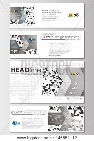 Social media and email headers set, modern banners. Business templates. Cover design template. Abstract triangle design background, modern gray color polygonal vector.
