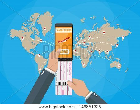Online booking for airplane tickets. Human hand with mobile phone with booking application and airplane boarding pass, world map with destinations. vector illustration in flat style