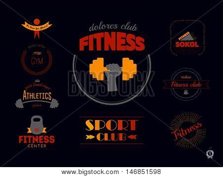 Set of sports logos. Fitness emblems and icons