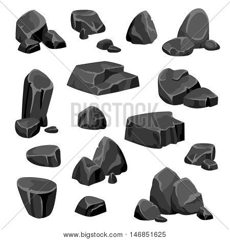 Black rocks and stones fragments of granite or nature mineral in cartoon style isolated vector illustration
