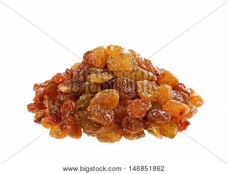 Raisins or sultana isolated on white background.