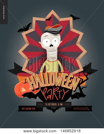 Halloween Party composed sign emblem invitation. Flat vectror cartoon illustrated design of a skeleton in center of striped shield, bats, pumpkin jack-o-lantern, ribbon, lettering