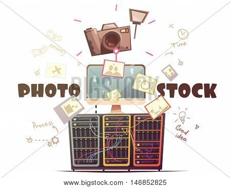 Successful high quality photo contributors to stock agencies concept symbols composition in retro cartoon style vector illustration