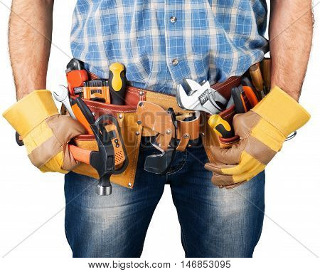 Close-up of a Construction Worker / Carpenter Tool Belt