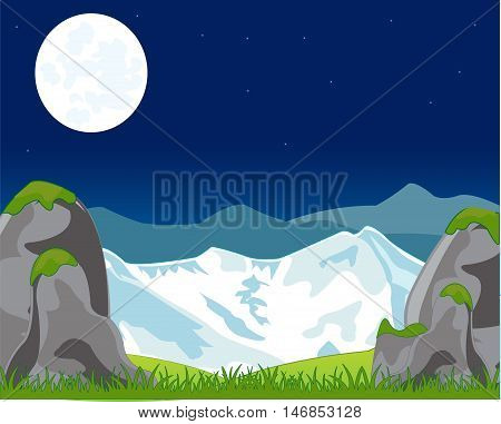 Landscape with mountain in the night.Vector illustration