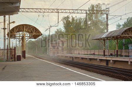 Sandstorm on railway station