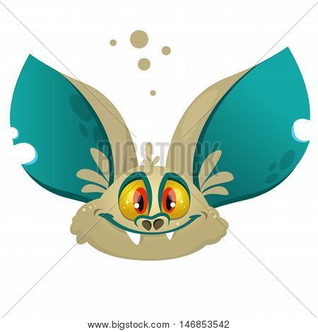 Cartoon bat head icon. Halloween vector bat vampire icon or avatar