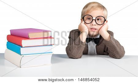 Closeup of a Bored Young Student with Books