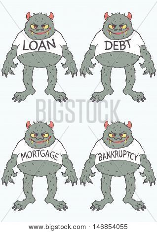 Set of four monsters representing loan, debt, mortgage and bankruptcy. Vector set with financial problems monsters.