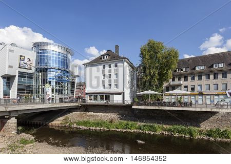 SIEGEN GERMANY - SEP 1 2016: River Sieg running through the city of Siegen. North Rhine Westphalia Germany