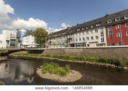 SIEGEN GERMANY - SEP 1 2016: River Sieg running through the city of Siegen. North Rhine Westphalia Germany