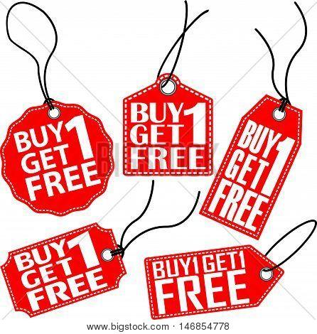 Buy 1 Get 1 Free Red Tag Set, Vector Illustration