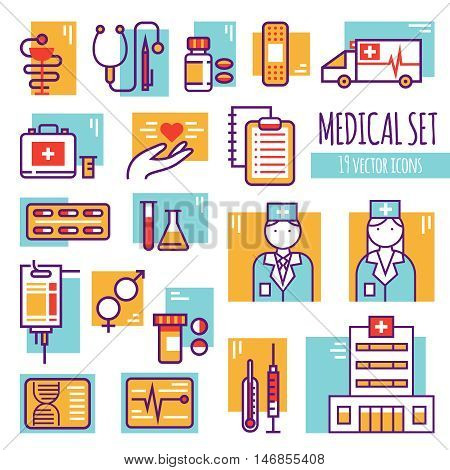 Medical decorative line icons set with hospital building emergency car pills insurance lab tools flat vector illustration