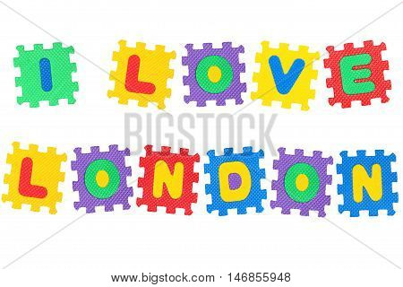 Message I Love London from letters puzzle isolated on white background.