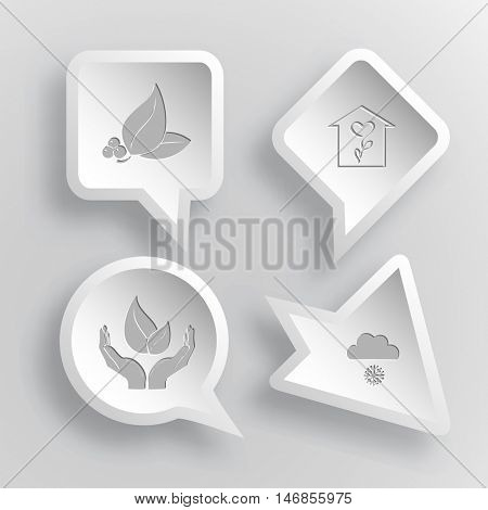 4 images: leaf with berries, flower shop, life in hands, snowfall. Nature set. Paper stickers. Vector illustration icons.
