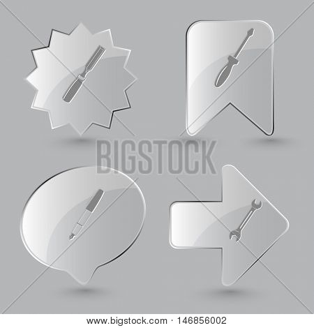 4 images: chisel, screwdriver, ink pen, spanner. Angularly set. Glass buttons on gray background. Vector icons.