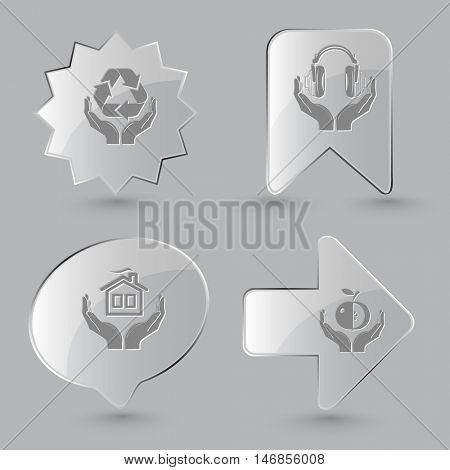 4 images: protection nature, headphones in hands, home, apple. In hands set. Glass buttons on gray background. Vector icons.