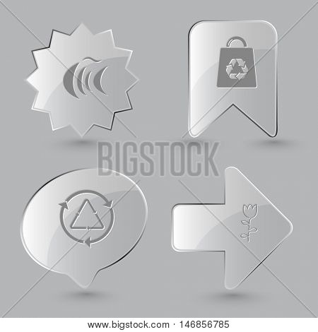 4 images: fish, bag, recycle symbol, tulip. Nature set. Glass buttons on gray background. Vector icons.