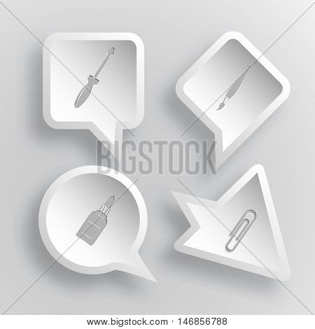 4 images: screwdriver, brush, glue bottle, clip. Angularly set. Paper stickers. Vector illustration icons.