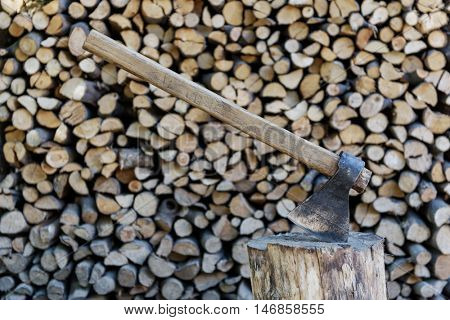 wood and axe close up