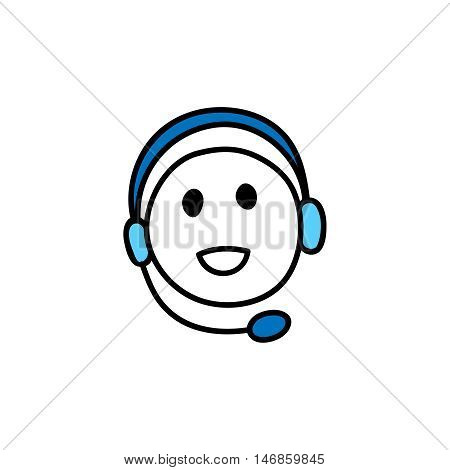 Webinar icon. Symbol of happy listening person with headphones. Smiling face