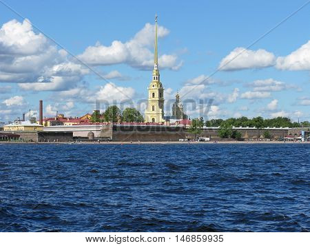 View of the Peter and Paul fortress and the Neva river. Peter and Paul cathedral. Landmark. Tourist attraction. Monument of architecture. Saint Petersburg, Russia.