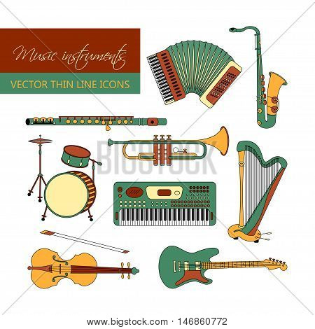 Vector color thin line icons with different music instruments synthesizer, drums, accordion, violin, trumpet, harp, drum, saxophone electric guitar flute piano