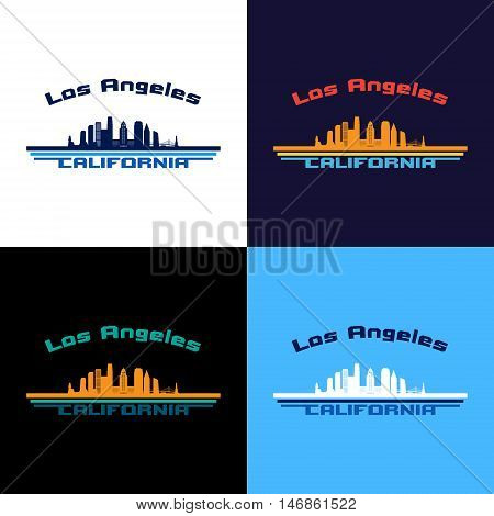 Los Angeles state California skyline in multicolor background in editable vector file.