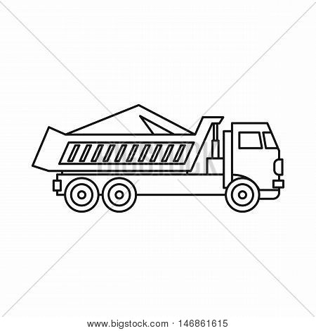 Dump truck icon in outline style on a white background vector illustration