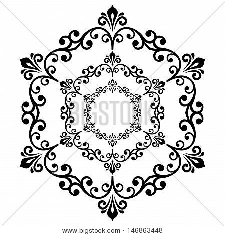 Oriental pattern with arabesques and floral elements. Traditional classic ornament. Black and white round pattern
